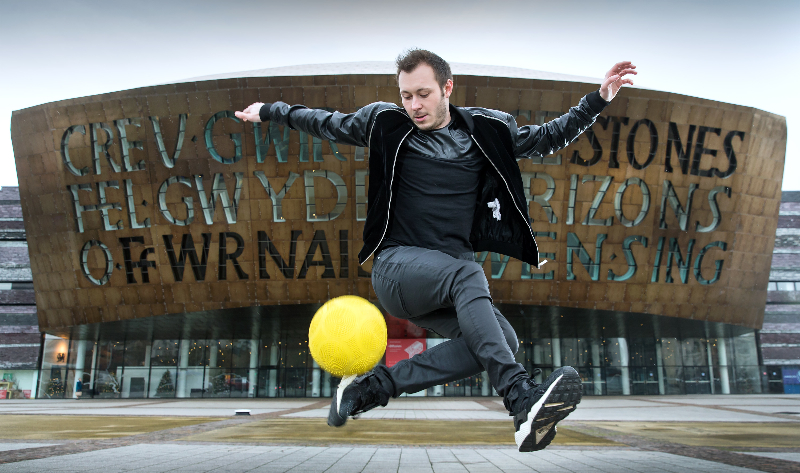 PICTURE BY PATRICK OLNER 07958 546063 Ash Randall 26, Cardiff based World Record holding freestyle footballer and holder of 18 World Records, celebrates 21 years of the National Lottery. For more info please contact Jackie Aplin on 02920 678278